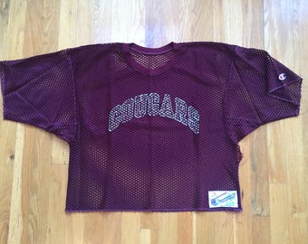 Vintage 80's Champion mesh practice jersey size M maroon red 90's crop top Cougars nylon distressed made in usa rochester new york sports
