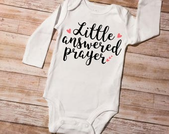 baby girl onesie, baby girl gown, answered prayer