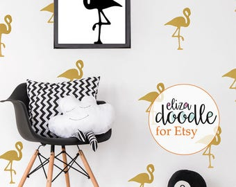 Flamingo wall stickers / flamingo wall decal / girls nursery decor / children's flamingo / pink vinyl sticker / removable wallpaper