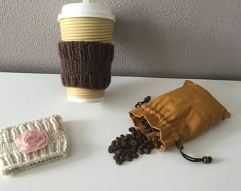 Cup sleeve set / Cup cozy/ Coffee Cup Sleeve / Tea Cup Sleeve / Knitted Cup Cozy / Re-Usable Cup Sleeve / Gift for him / Gift for her