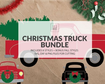 12 Christmas Truck svg - Old Truck svg - Vintage Truck svg - Christmas Wreath svg - Christmas Tree svg - Truck svg files - Christmas svg