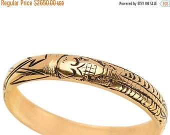 ON SALE Skeleton Ring Memento Mori Ring Gold Estate Enamel Engraved Full Skeleton Georgian-Inspired Pickaxe and Shovel 18k Gold || 17838