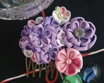 Fashionable Purple Bouquet Fascinator / Tsumami Kanzashi Head Piece / Geisha inspired accessories / Wedding Fascinator / Bridal headpiece