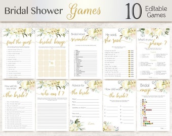 Bridal Shower Games White Ivory Vanilla flowers, Editable Bridal Shower Games Package Set Bundle, Editable games Bridal Shower Gold Game Set