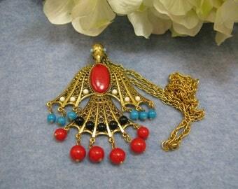 Vintage Phoenix Rising Pendant Dangle Aqua Red  Beads Gold Tone .Marcia Sparkle Brown