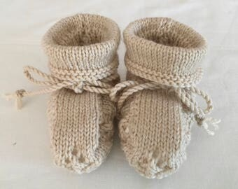 Hand Knitted Booties in Oatmeal colour.