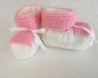 Coconut Ice handknitted  baby booties.