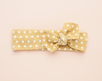 Mustard Polkadot Organic Baby Headband / Baby Headband / Baby Gift / Newborn Headband / Headbands / Infant Headband / Baby Headwrap / Bows