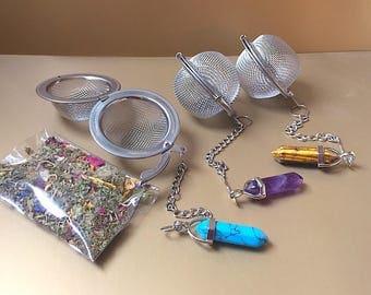 Tea Infuser & Tea sample gift, Tea Strainer, Natural Stone, Crystal, Mesh tea ball infuser, Tea gift, Loose tea infuser, Gemstone