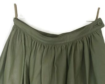 Ferragamo Green Leather Pleated Skirt