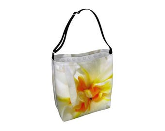 Floral Tote Bag, Large Crossbody Totebag, Adjustable Strap, Library Book Bag, Carry All, Beach Yoga, Big Market Shopping Bag, Yellow White