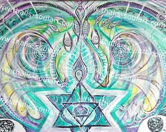 70 x 50 cm ORIGINAL canvas dragon love hypnosis