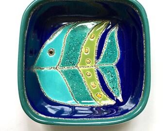 Unique E. Veoa Dish, Ring Dish, Fish Design, Nautical Design