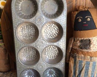 Vintage 8 Tart Tin- 3 in 1 Muffin Tin Old Farmhouse Pantry Cake Primitive Kitchen Pan
