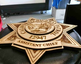 Three tier laser engrave wood law enforcement badges