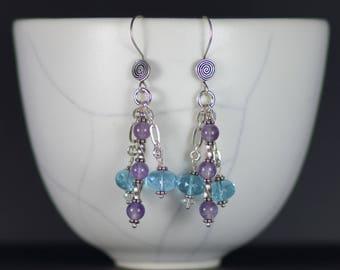 Amethyst and Swarovski Sterling Silver Earrings E 063