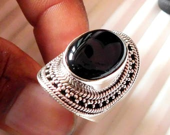 Natural Black Onyx Ring Onyx Cabochon Ring Sterling Silver Ring Black Onyx Gemstone Ring 925Sterling Silver Nepali Style Ring Onyx Us8 E1546