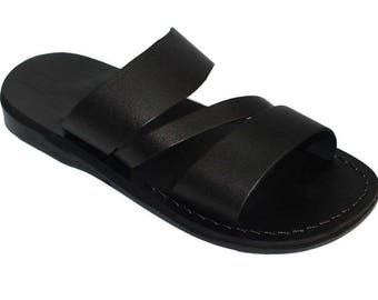 Jesus sandals for both men and women size 39, genuine leather sandals handmade easy slide on sandals with a unique shape