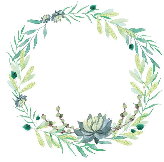 Greenery Clipart Succulents Clipart Watercolor Wreath
