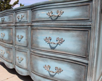 SOLD - Vintage French provincial dresser by Drexel blue / grey shabby chic
