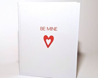 Be Mine Valentine's Day Greeting Card - Heart, Red, White
