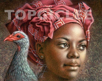 Afrikaanse Vrouw - Meester Print van Acrylicverfwerk - Master Print created from the Acrylic Painting Artwork, African Woman, Out of Africa