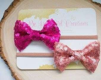 Fucshia and Rose Gold Sequin Bows Set/ Baby  headbands/ Girls Hair clips / Newborn Headband