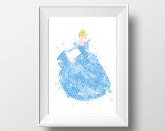 Wall Art Watercolor Cinderella Print,Cinderella Print,Watercolor Disney Princess Poster,Nursery Print,Printable Disney,Baby Gift,Decor