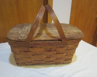 vintage picnic basket, toy storage, wicker picnic basket, vintage storage,craft storeage, planter, vintage picnic, wicker basket
