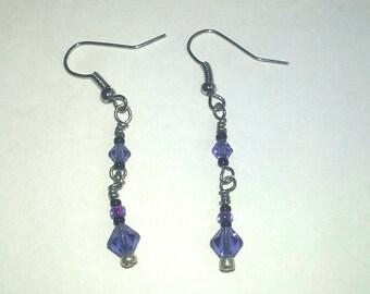 Purple Bicone Beaded Drop Earrings