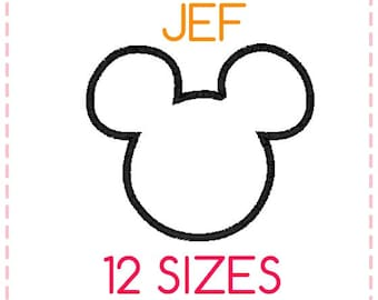 12 SIZES Mickey Mouse Applique Embroidery Design JEF Format,Embroidery Designs ,Machine Embroidery,Mickey Mouse Head,Instant Download