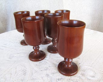 Carved wooden goblets set of 6 wooden cups red gum goblets carved wood wooden utensil vintage carved red gum wood gift.