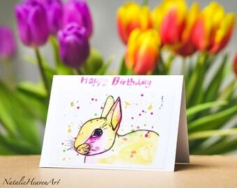 Rabbit Birthday Card Girlfriend, Birthday Card Mum, Birthday Card for Her, Birthday Card Wife, Birthday Card Friend, Birthday Card Sister