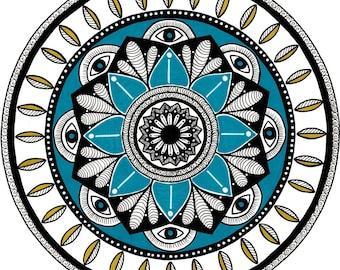 Mandala 8 eyes, giclee, print 21x21cm