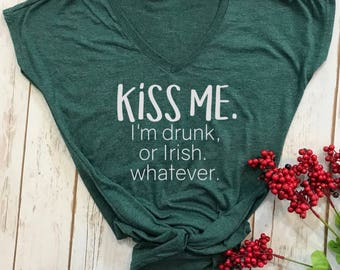 Kiss me im drunk top- st patricks day shirt- funny st pattys day shirt- funny st patricks day shirt- funny drinking shirt-lucky womens shirt
