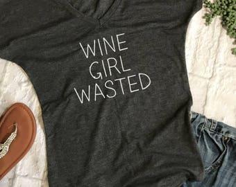 wine girl wasted- funny wine shirts- wine tshirt- winery tour shirt- wine lover shirt- shirts for wine drinkers- wine gifts- funny wine tee