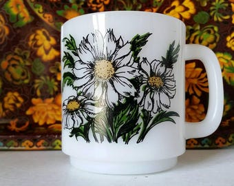 Glasbake Milk Glass Daisy Mug