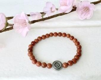 Brown Goldstone Bracelet, 6mm beaded bracelet