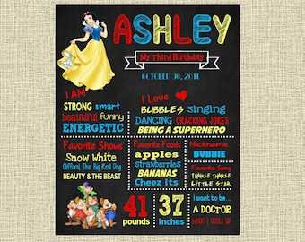 Snow White Birthday Chalkboard Poster - Disney Princess Snowwhite Wall Art design - Birthday Party Poster Sign - Any Age