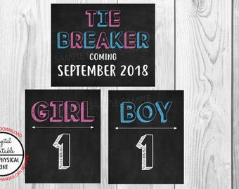 Tie Breaker Pregnancy Announcement Sign, Pregnancy Reveal, Printable, Pink or Blue, Instant Download, Chalkboard Sign, due September 2018