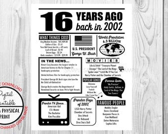 2002 The Year You Were Born, 16th Birthday Poster Sign, Back in 1968 Style Poster, Printable, 2002 Facts, 16 years ago