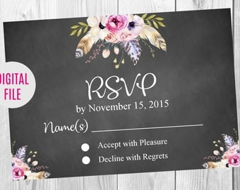 RSVP Card, Vintage Floral Boho Wedding Invitation, Details, Thank You Card Sign, Save the Date, Chalkboard Floral Boho Wedding Invite Set