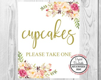 Cupcakes Wedding Sign, Vintage Gold Floral Boho Sign, Flower Bohemian Wedding Sign, Printable, Baby Shower Sign, Bridal Shower Sign,