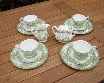 mid century 14 piece myott teaset in the brook pattern.