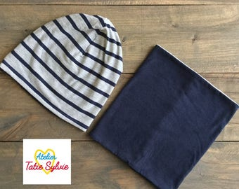 Set hat and scarf/cowl reversible bamboo stripe grey/Navy