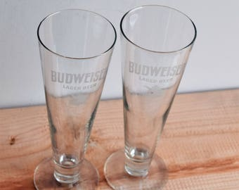 Vintage Set of 2 Budweiser Beer Glasses with Capacity of 0.4 L/Barware