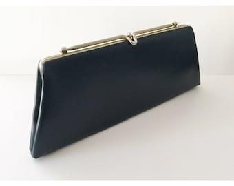 Vintage Clutch Purse, 60s Clutch Purse, Dark Blue Clutch Purse, Faux Leather Clutch