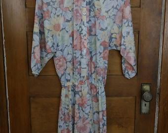 1960's Vintage Flowy Flowered Dress • S • Teena Paige Fashions