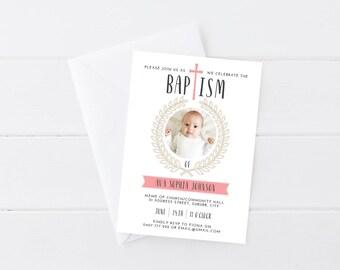 Girl Baptism Invitation | Baptism Invitation | Christening Invitation | Photo Baptism Invitation