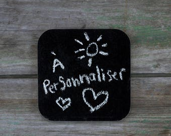 Square slate to personalize, wood - Daily Routine - 3 to 5 years